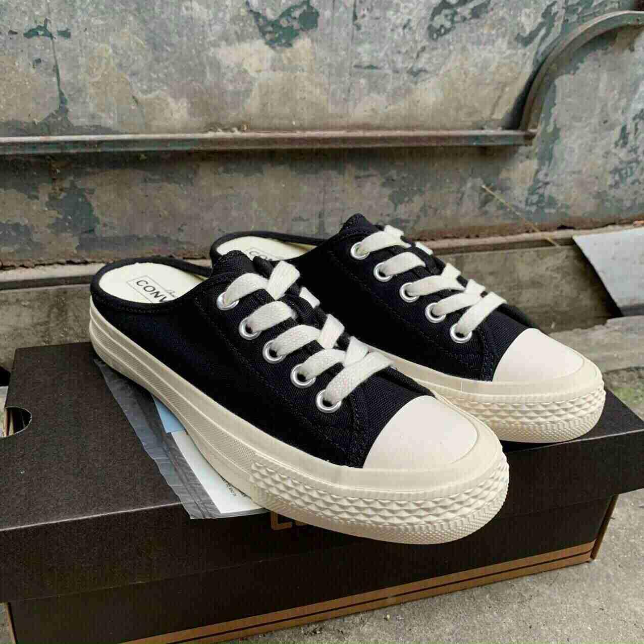 Giày sục Converser Đen rep 1:1 trẻ trung hiện đại phù hợp với các buổi vui chơi, dạo phố hàng ngày