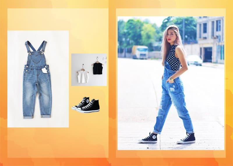 Cách phối đồ với giày Converse đó là quần jean yếm năng động, cá tính
