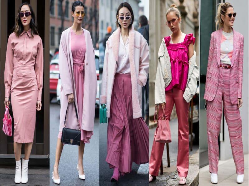 Phối đồ với giày màu hồng cùng trang phục ton-sur-ton