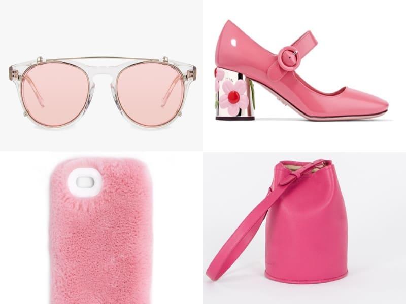 Phối đồ màu đen với giày màu hồng là cách mix and match ấn tượng