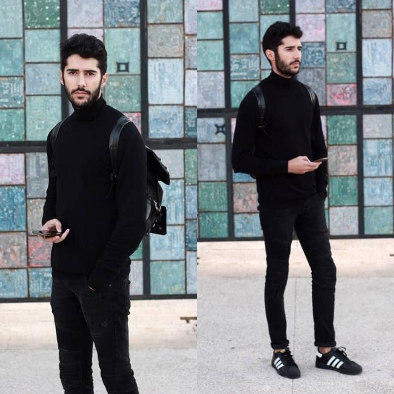 Áo len kết hợp cùng quần jean và giày adidas vừa đẹp vừa ấm áp