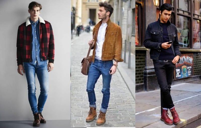 Set đồ áo thun không cổ với boot nam là phong cách được áp dụng phổ biến