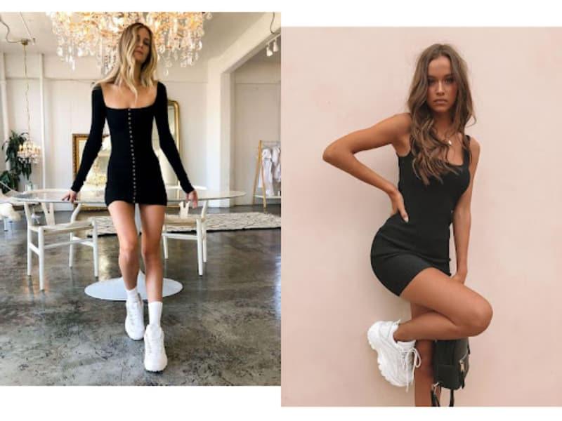 Mix giày thể thao cùng váy body