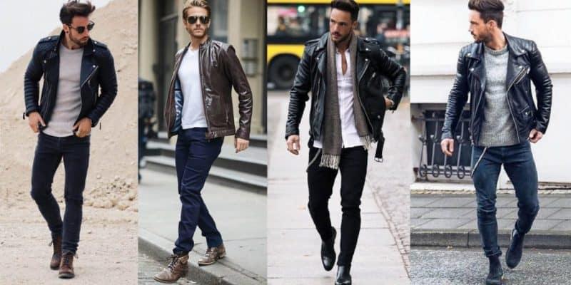 Thời thượng với set đồ giày cổ cao nam, áo khoác da