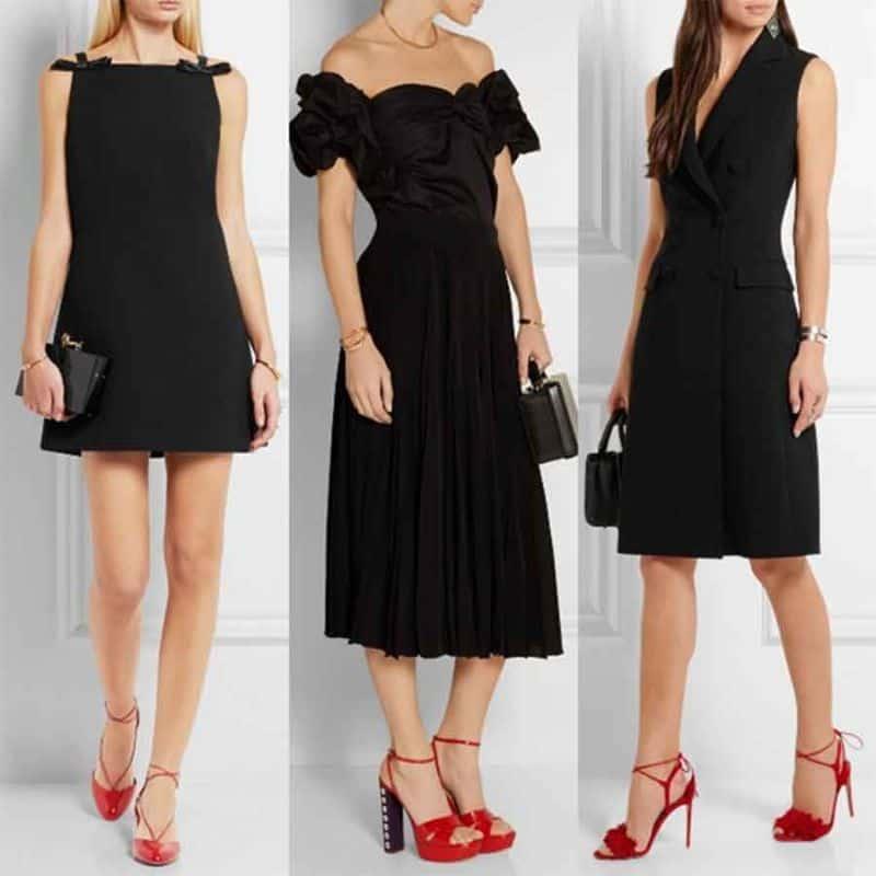 Váy đen giày đỏ chưa bao giờ là item lỗi mốt dành cho các nàng