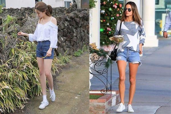 """Các cô nàng trở nên """"ngầu"""" hơn khi phối giày trắng với quần short"""