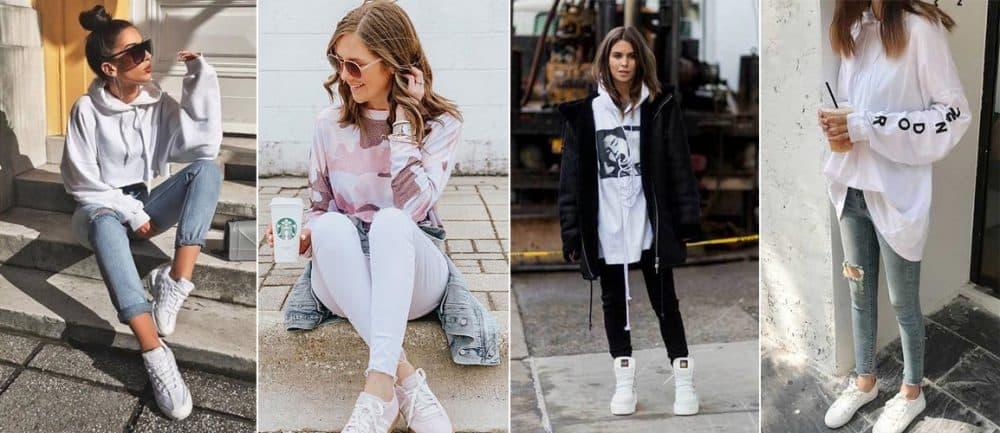 Nổi bật với phong cách giày thể thao trắng và áo hoodie