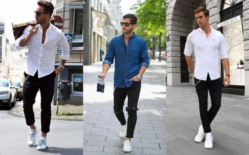 Cách phối đồ với giày trắng nam cùng áo sơ mi sẽ trông bảnh bao và nổi bật hơn