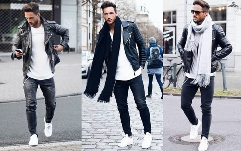 Chiếc áo khoác da cá tính, bụi bặm này đi kèm với phụ kiện và phối đồ với giày trắng
