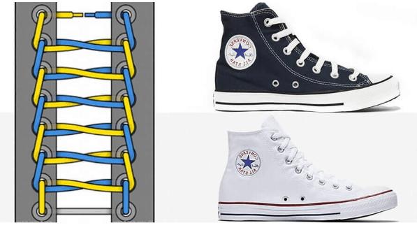 Thắt dây giày cổ cao Converse hình thang