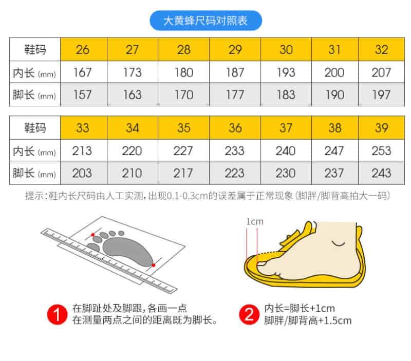 Bảng size giày dép trẻ em Quảng Châu