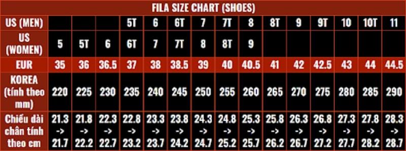 Bảng size giày FIla