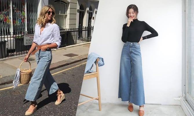 """Kết hợp quần jean ống loe với giày cao gót đế xuồng là một """"cặp đôi hoàn hảo"""""""