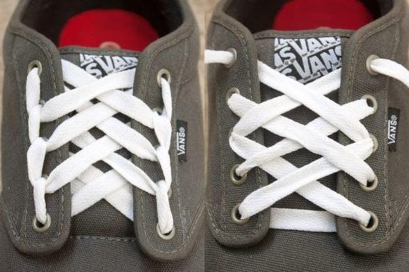 Cách buộc dây giày 4 lỗ kiểu mắt cáo