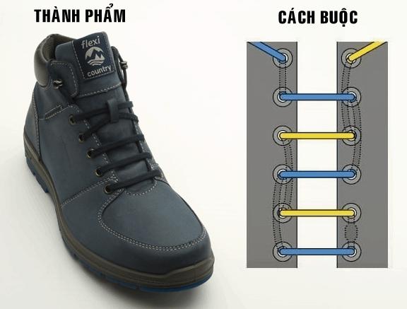 Cách buộc dây giày 5 lỗ hàng ngang truyền thống