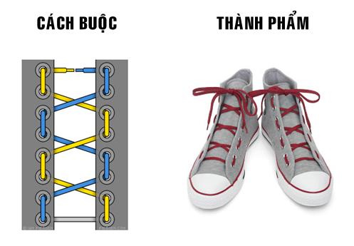 Tham khảo cách thắt dây giày 4 lỗ kiểu Double X quân đội