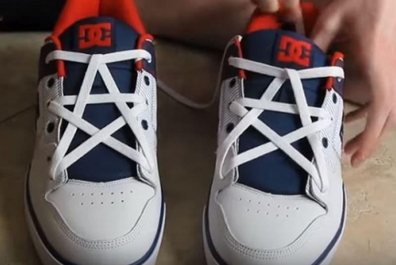 Cách thắt dây giày đẹp 5 lỗ ngôi sao