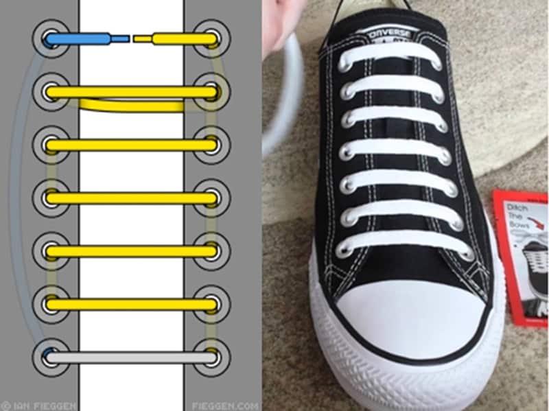 Cách buộc dây giày kiểu thẳng rất phổ biến