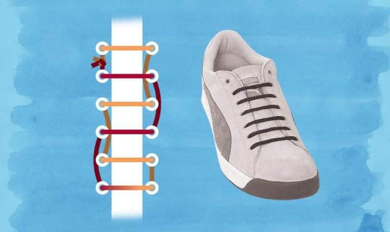 Cách dùng 1 góc là cách thắt dây tạo góc chéo ở hàng lỗ xỏ thứ nhất