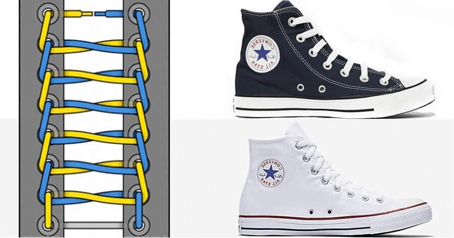 Cách đi dây giày Converse cao cổ đẹp theo cách buộc hình thang
