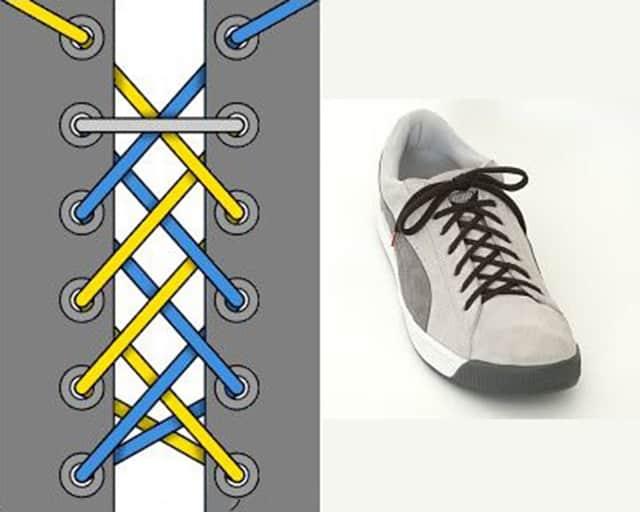 Cách xử lý dây giày quá dài bằng cách đan chéo