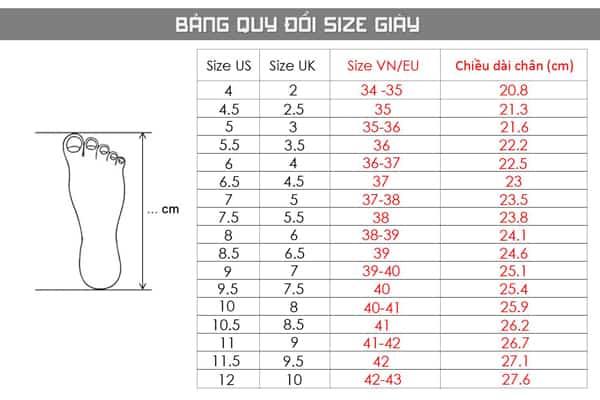 Bảng quy đổi size giày chuẩn xác