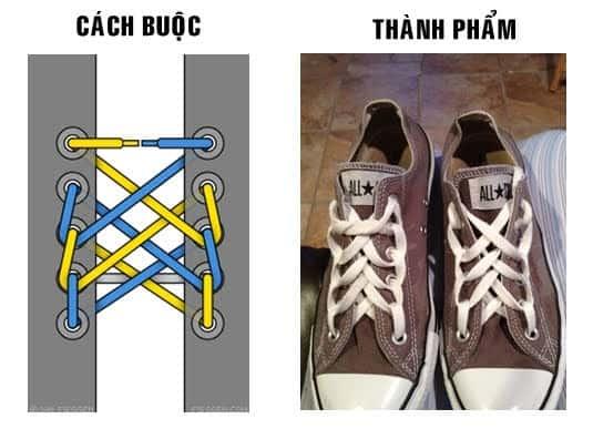 Cách buộc dây giày sneaker 5 lỗ hình mạng nhện cực chất