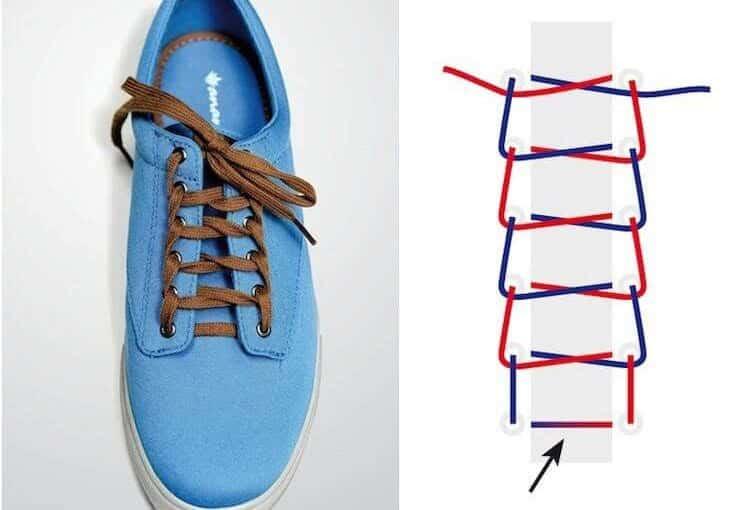 Cách buộc dây giày sneaker 5 lỗ hình mắt cáo