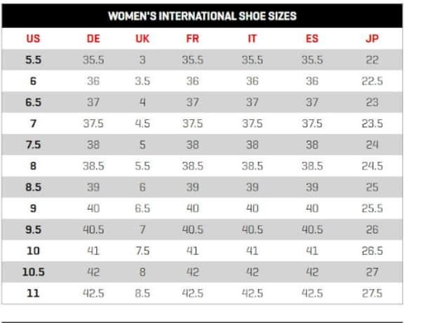 Bảng size giày nữ của Puma của nữ
