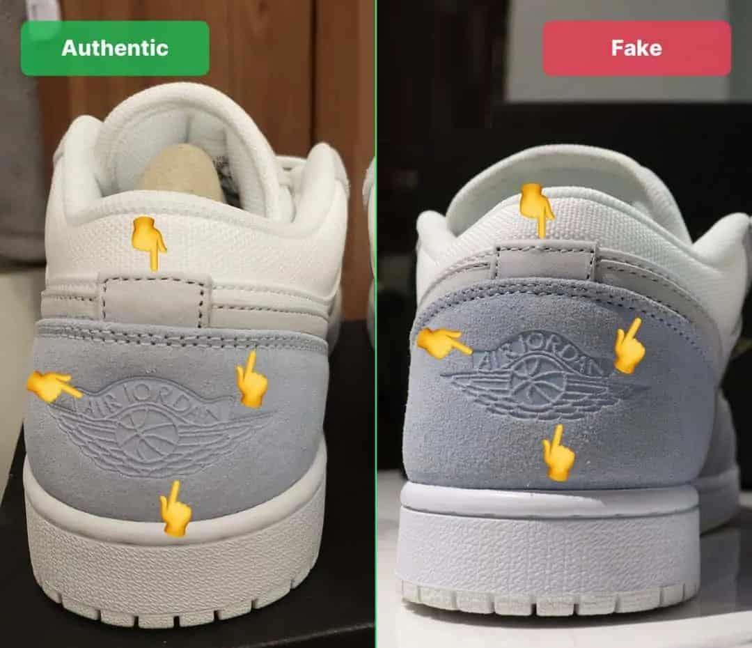 Nhận biết Air Jordan 1 Low theo mặt sau của sản phẩm