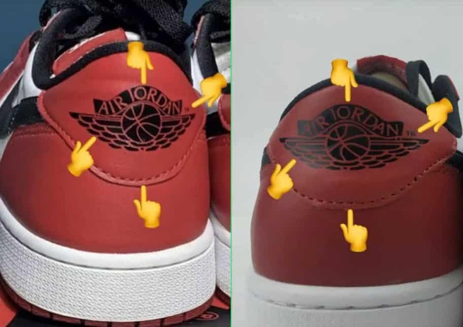 Nhận biết sản phẩm Air Jordan 1 Low qua logo được in phía sau