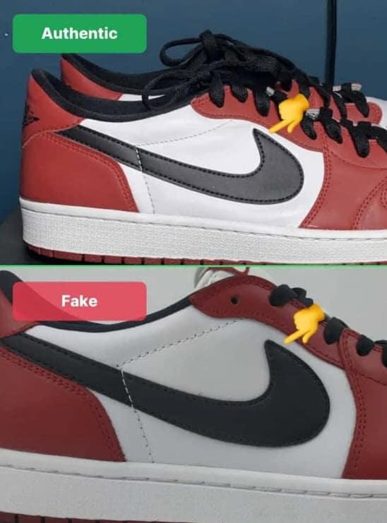 Ví dụ nhận diện giày thật giả qua Swoosh