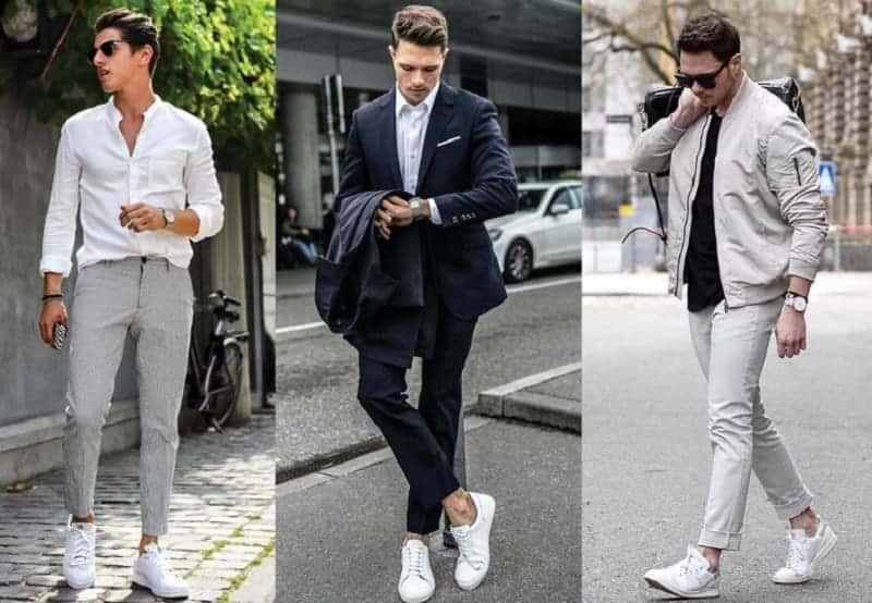 Sneaker rất phù hợp để phối giày với quần tây áo sơ mi