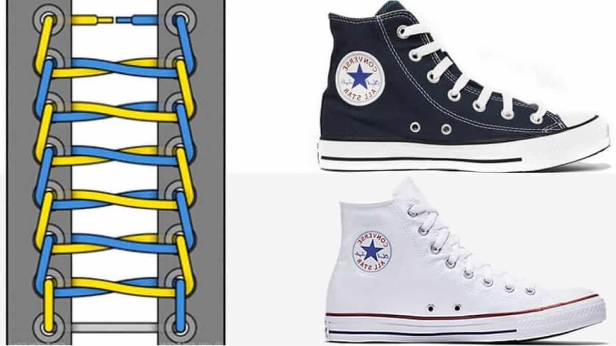 Thắt dây song song truyền thống khiến những đôi giày Converse 8 lỗ cổ cao trở nên đơn điệu
