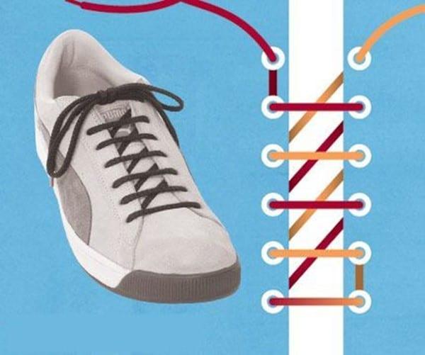 Hình 3- Cách buộc dây giày thể thao hình răng cưa độc đáo