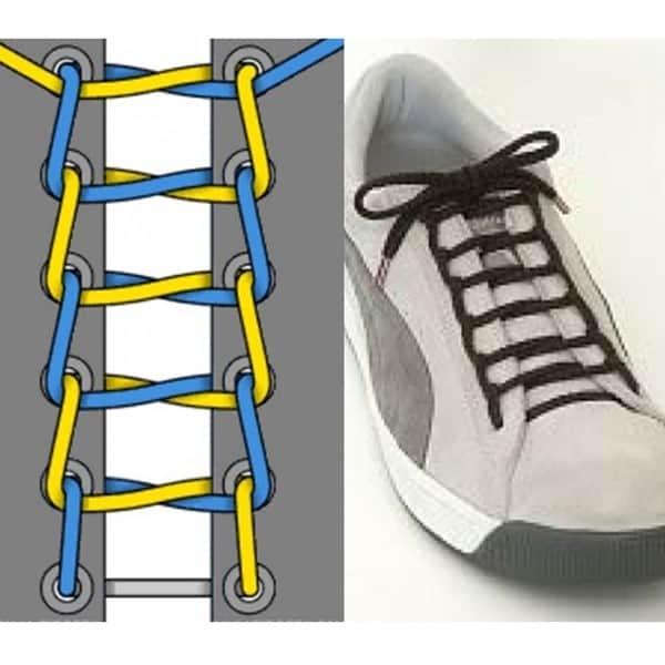 Hình 4 - Cột dây giày thể thao kiểu bậc thang cũng rất đơn giản