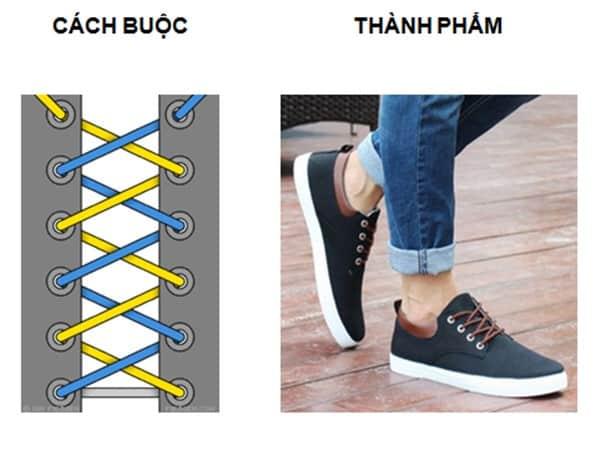 Hình 1 - Cách buộc dây giày kiểu xương cá đơn giản nhưng độc đáo
