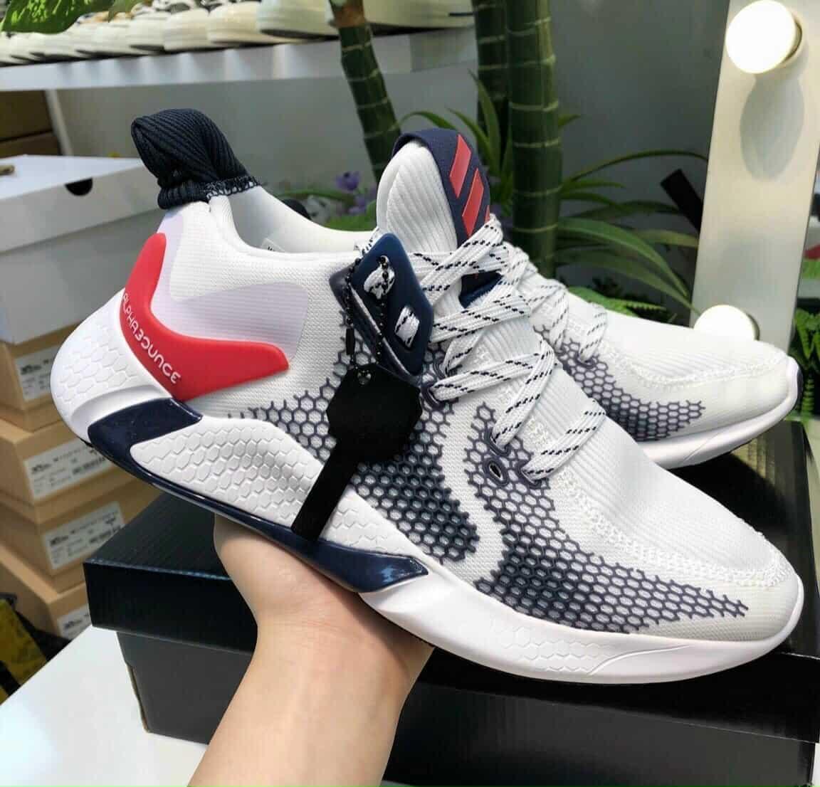 Giày Adidas Alphabounce trắng đỏ