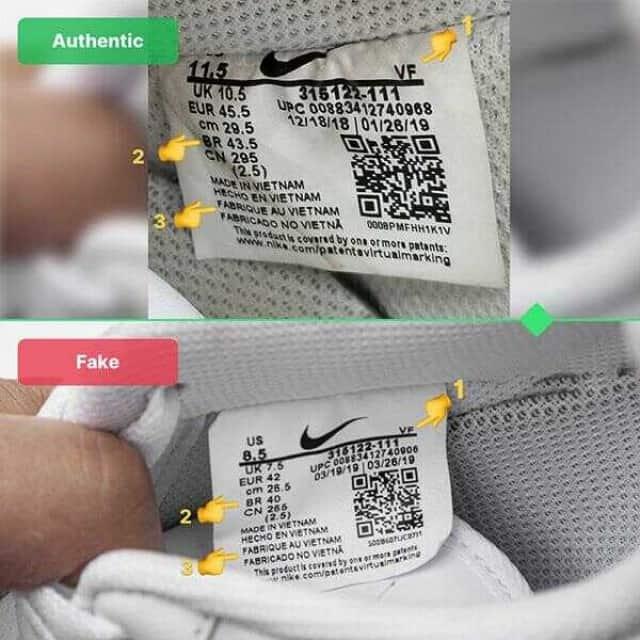Tem giày Nike thật được may rất cẩn thận tỉ mỉ ở phần lưỡi gà