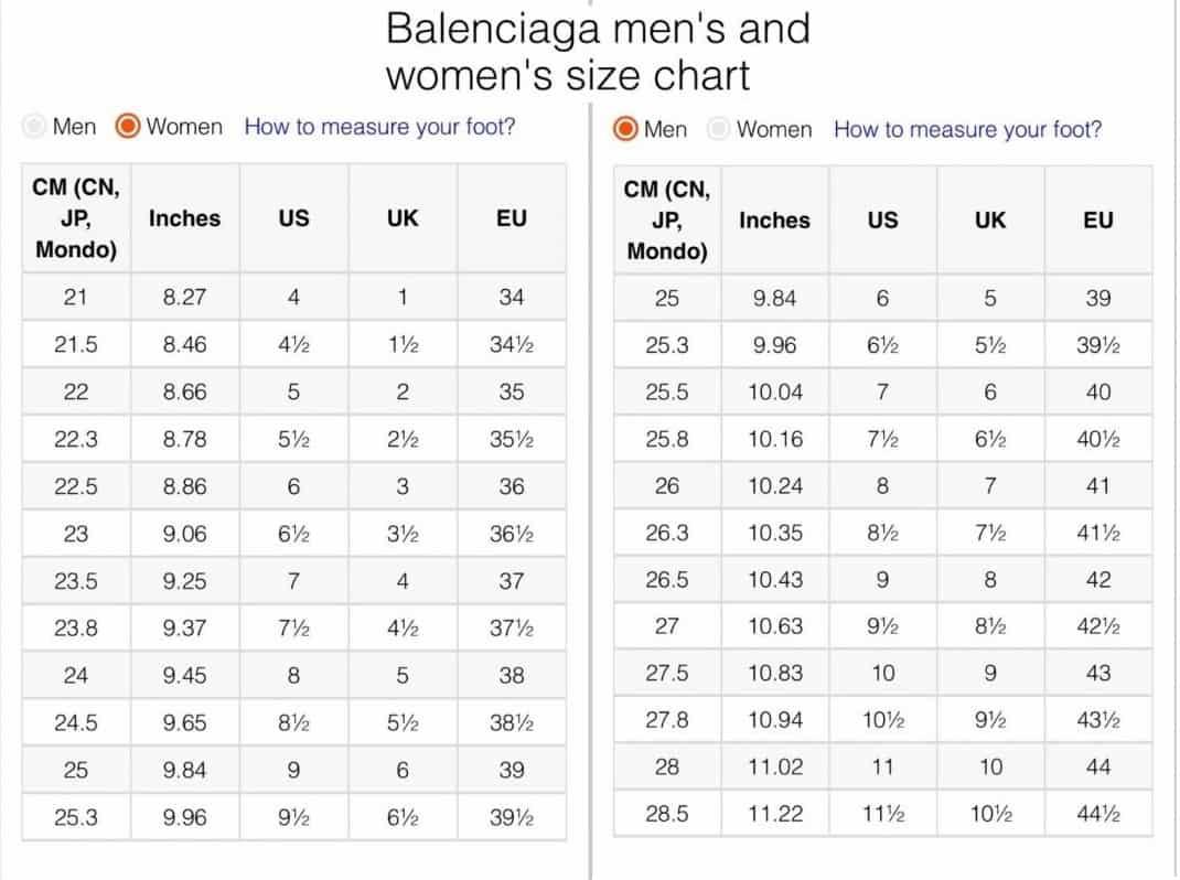 Bảng size giày Balenciaga giúp khách hàng chọn giày vừa chân