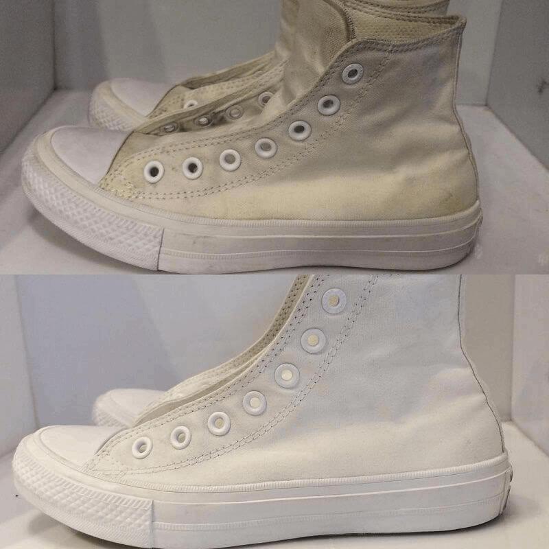 Giày bị ố vàng sau khi giặt.