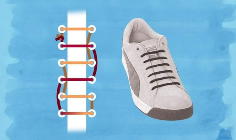 Cách buộc dây giày thể thao nữ đẹp theo kiểu đường thẳng hữu ích với mu bàn chân dày
