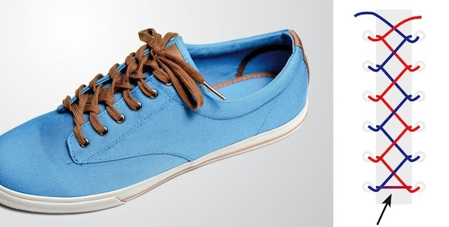 Đôi giày trở nên đẹp hơn với cách buộc dây hình xương cá