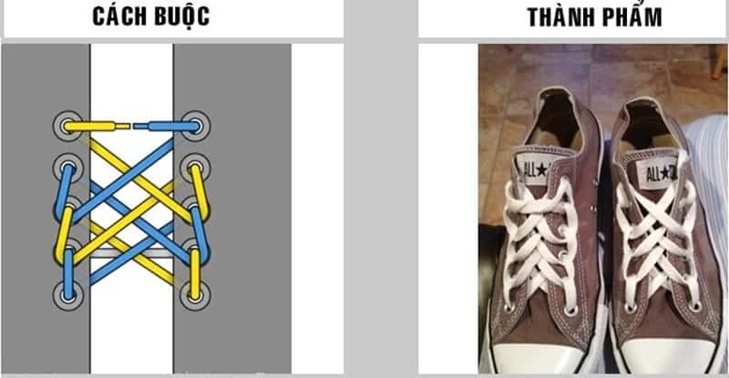 Cách buộc dây giày hình mạng nhện đòi hỏi sự khéo léo cao