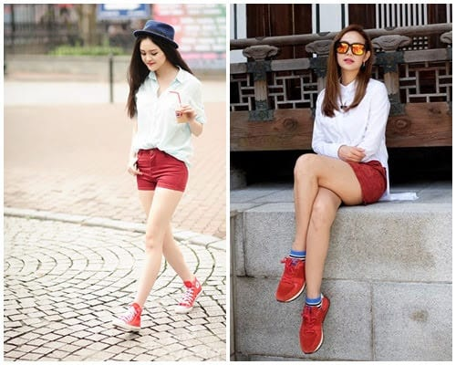 Phối áo sơ mi với giày sneaker màu đỏ