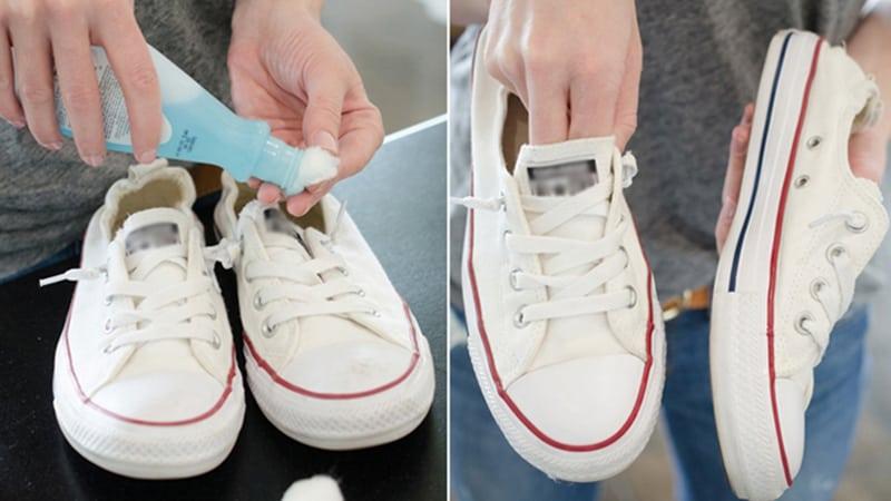 Tẩy vết ố vàng trên đế giày trắng hiệu quả với Axeton