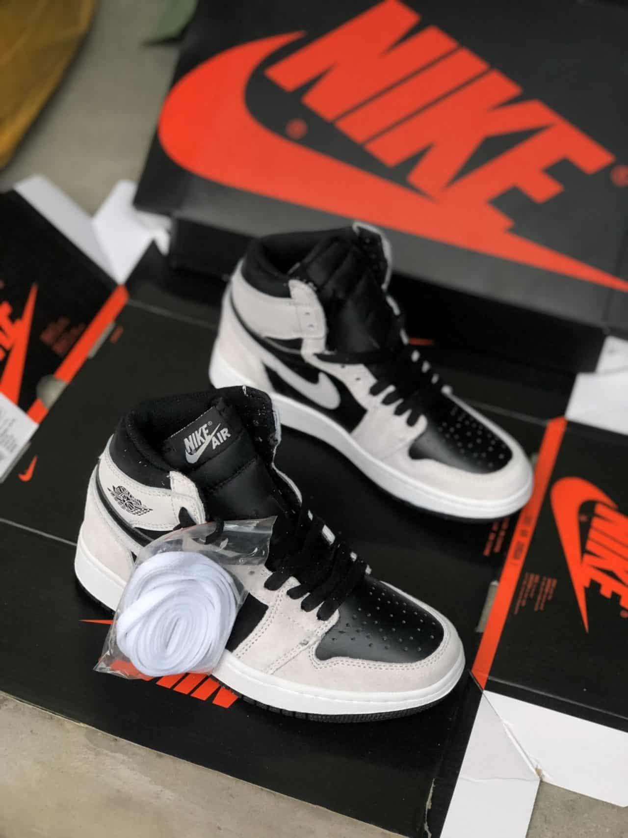 Giày cổ cao nam giá rẻ Jordan 1 High Xám Đen rep 1:1