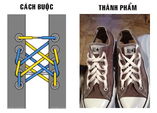 Tạo hình dây giày hình mạng nhện