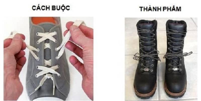 Cách buộc dây giày 6 lỗ đẹp kiểu Corset