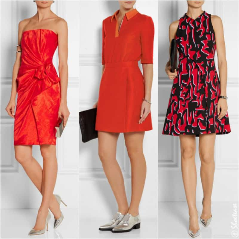 Thật tinh tế khi lựa chọn màu bạc sang chảnh cùng chiếc váy đỏ quyền lực